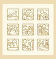 landscapes icons set nature mountains summer vector image vector image
