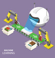 machine learning flat isometric concept vector image vector image