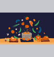 making soup concept pot with bulbing vector image