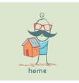 man holding a house vector image vector image