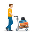 man with luggage trolley in airport vector image vector image