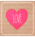 Pink watercolor heart on cardboard vector image vector image