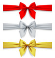 red silver and gold ribbons with bow isolated on vector image vector image