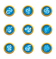 serpent icons set flat style vector image vector image