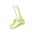silhouette leg with sport sneaker to practice vector image vector image