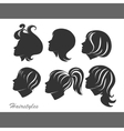 Silhouettes of women with hairstyles for design vector image