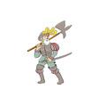 Spanish Conquistador Ax Sword Cartoon vector image vector image