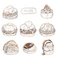 sweet pastries - cream puffs set of cakes with vector image vector image