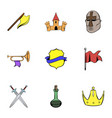 warrior icons set cartoon style vector image
