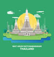 wat arun ratchawararam historical temple in vector image