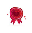 wax seal with red heart and ribbons isolated vector image
