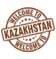 welcome to kazakhstan brown round vintage stamp vector image vector image