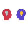 with two human heads and light bulbs on and off vector image