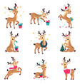 adorable cute christmas fawns set merry xmas and vector image vector image