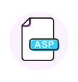 asp file format extension color line icon vector image vector image