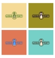assembly flat icons nature penguin logo vector image vector image
