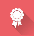 badge with ribbon icon in flat style on red vector image vector image