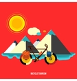 Bicycle near the mountain Bicycle tourism vector image vector image