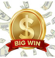 big win sign background design for online vector image vector image