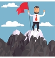 Businessman with flag on a Mountain peak success vector image vector image