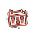 calendar agenda icon in comic style planner vector image vector image