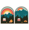 camping poster sunset landscape vector image