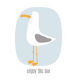 cartoon card with seagull vector image vector image