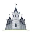 cartoon castle with flags fantasy building of vector image