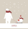 christmas card white bears is sledding vector image
