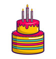 colorful birthday cake icon cartoon style vector image vector image