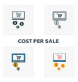 cost per sale icon set four elements in diferent vector image