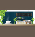 cup of coffee on wooden table coffee shop vector image vector image