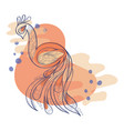 doodle composition in blue and orange with peacock vector image vector image