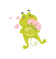 enamored green frog with pink lotus flower in paws vector image vector image