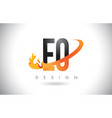 eo e o letter logo with fire flames design and vector image vector image