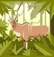 flat geometric jungle background with common eland vector image vector image