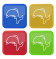 four square color icons jumping fish dolphin vector image