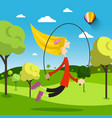 girl with jumping rope on meadow on sunny day vector image