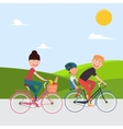 Happy Family Riding Bikes Woman on Bicycle vector image vector image