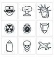japan and nuclear weapons icons vector image