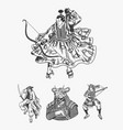 japanese samurai set warriors with weapons sketch vector image vector image
