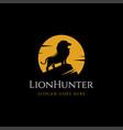 lion in night moonlight logo icon vector image