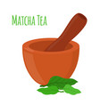 matcha tea mortar pestle cartoon style vector image vector image
