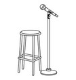 microphone and chair black and white vector image vector image