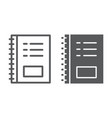 notebook line and glyph icon office vector image vector image