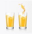 orange juice splash in glass realistic vector image vector image