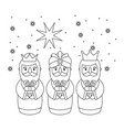 outlined three magic kings bring presents to jesus vector image vector image