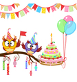 Owl give cake vector image vector image