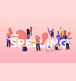 people characters spelling concept writing vector image