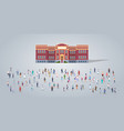 people group in front school building different vector image vector image